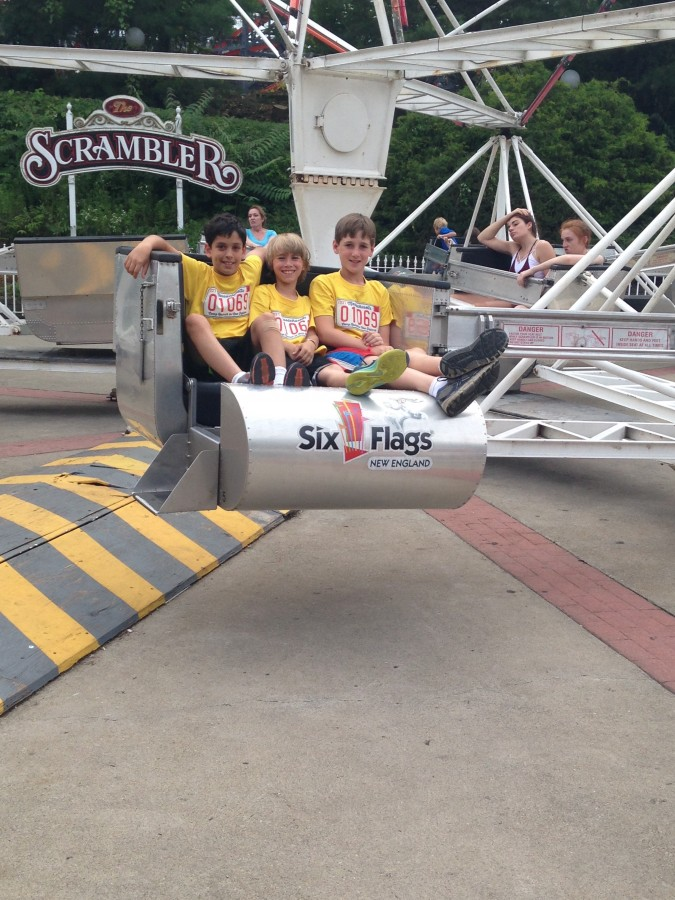 Nathans and Brandon having an awesome time on the Scrambler!